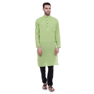 Long kurta - Parrot Green Kurta | Dobby cotton