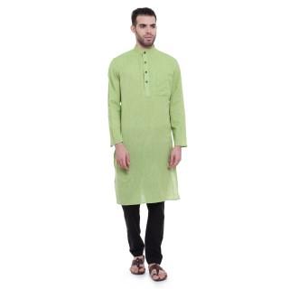 Long kurta - Parrot Green Kurta | Dobby cotton