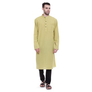 Long Kurta - Olive colored in cotton fabric