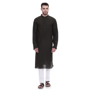 Long Kurta - Hunter green colored in cotton fabric