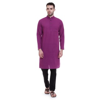 Solid cotton kurta for men - Dark Magenta