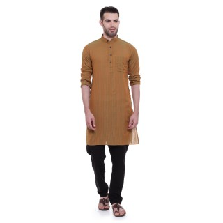 Long Kurta - Heena colored in cotton fabric