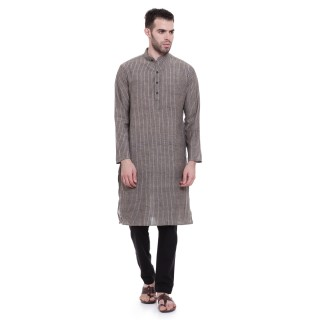 Long Kurta - Grey black colored in cotton fabric