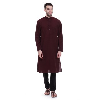 Long Kurta - Maroon colored in cotton fabric