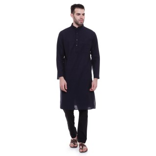 Long Kurta -Blue colored in cotton fabric
