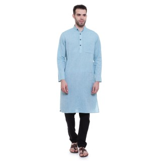 Long kurta - Powder blue cotton kurta