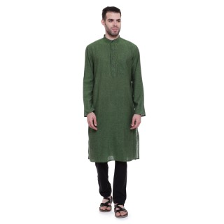 Cotton long kurta - Green colored | Dobby weave