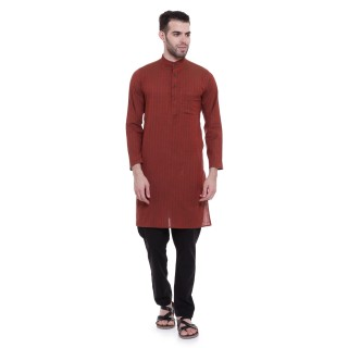 Long kurta - Chocolate colored woven kurta in cotton fabric