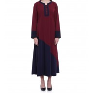 Blue and maroon shade abaya