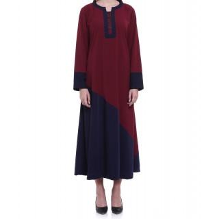 Blue and maroon shade abaya