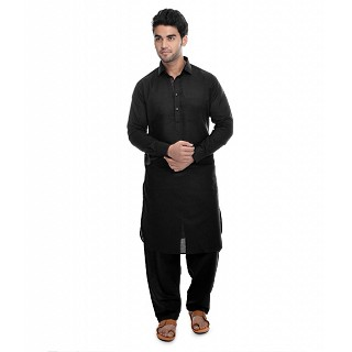 Premium Cotton Pathani suit -Black