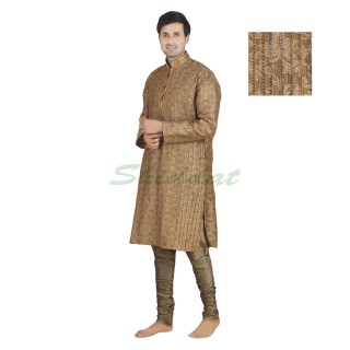Kurta pyjama- Dupain silk fabric in Yellow Metal color