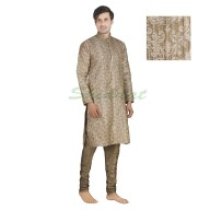Kurta pajama- Dupain silk cloth in Indian khaki color