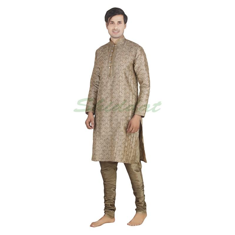 3dc9756785be Kurta pajama set made of dupain silk cloth in Indian khaki color