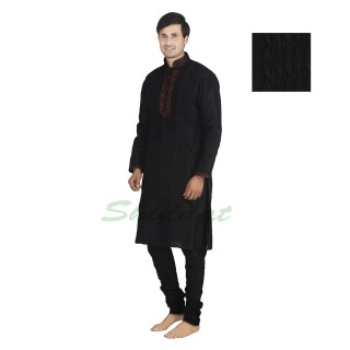 Kurta pajama set- Black dupain silk