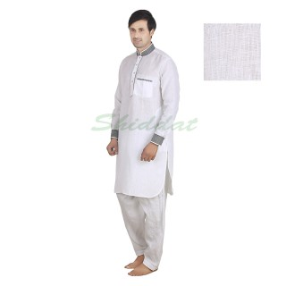 Pathani suit- White in linen fabric