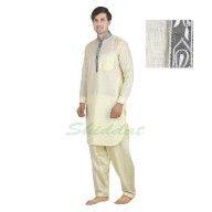 Pathani suit - Light yellow in Cotton linen