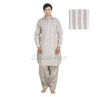 Cotton Pathani suit - White strips on Tea color