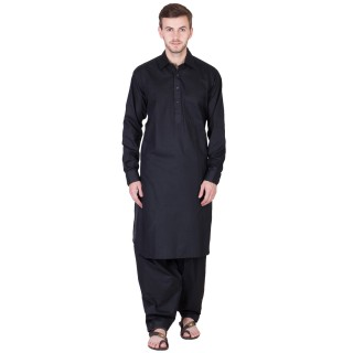 Solid Black Pathani Suit