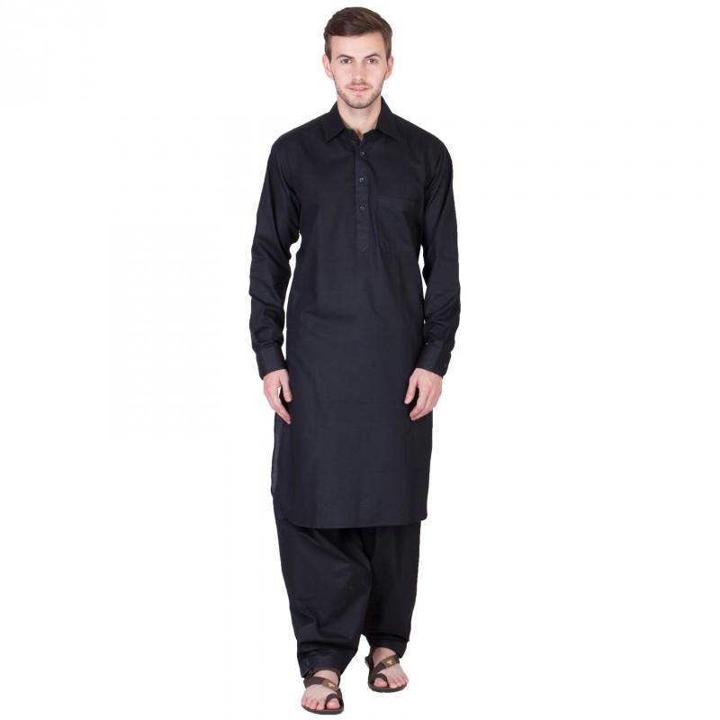 Pathani Suit Buy Solid Black Pathani Kurta Pajama Online