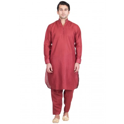 Pathani Suit -Brick red colored with Chinese neck