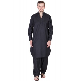 Chinese Neck Pathani Suit- Solid Black