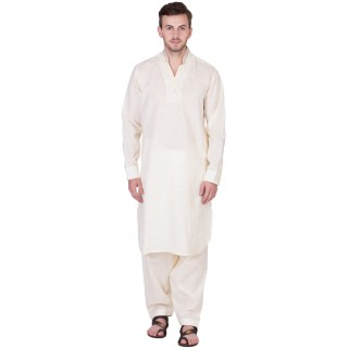 Chinese Neck Pathani Suit- Beige