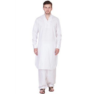 White Pathani Suit with Chinese neck