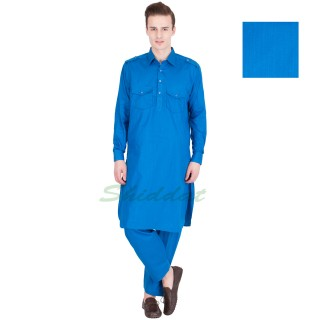 Cotton Pathani Suit- Venice Blue