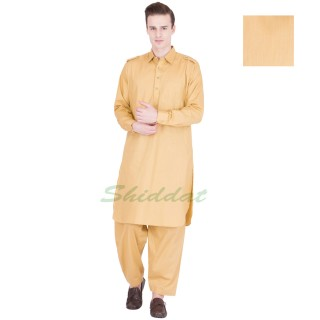 Pathani Suit- Gold Sand Colored in Cotton Fabric