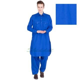 Cotton pathani suit- Science blue colored
