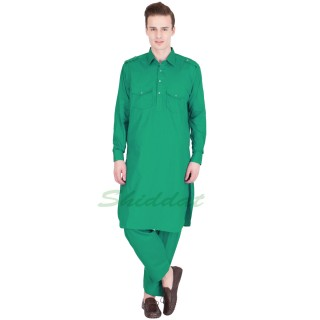 Pathani suit- Green  colored