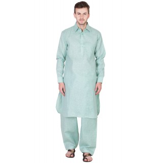 Woven Pathani Suit - Opal Blue
