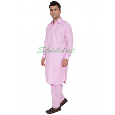 Cotton Pathani Suit- Baby Pink colored