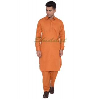 Cotton Pathani Suit- Tangerine colored