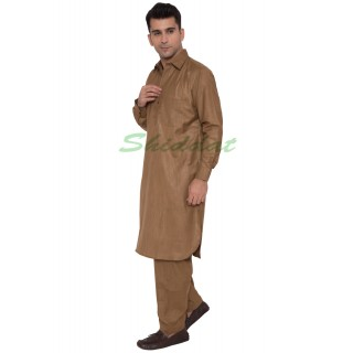 Pathani Suit- Caffeine-Brown Colored in Cotton Fabric
