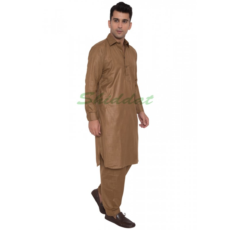 Pathani Suit Online Buy Caffeine Brown Cotton Pathani