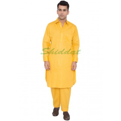 Cotton Pathani Suit- Lightning-Yellow colored