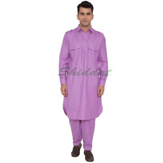 Cotton Pathani Suit- Lilac