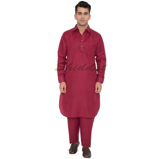 Cotton Pathani Suit- Mexican Red colored