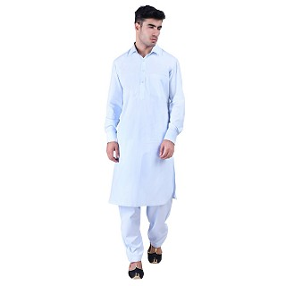 Pathani suit for men with regular collar- Sky Blue