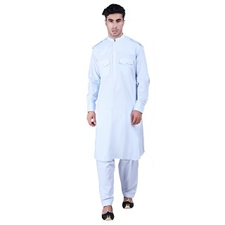 Cotton Pathani Suit with mandarin collar- Sky Blue