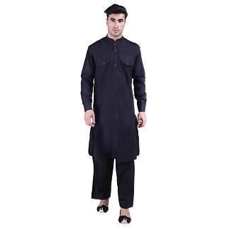 Designer Cotton Pathani Suit- Black