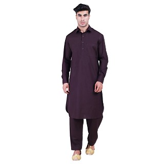 Pathani suit for men with regular collar- Purple