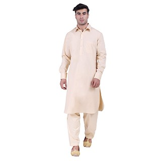 Pathani suit for men with regular collar- Beige