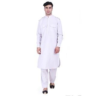 Cotton Pathani Suit with mandarin collar- Light Grey