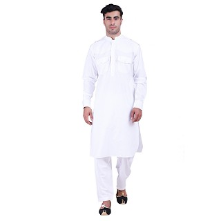 White Cotton Pathani Suit with mandarin collar