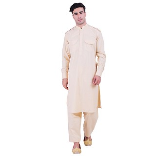 Cotton Pathani Suit with mandarin collar- Beige