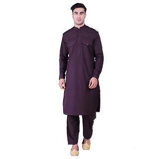 Cotton Pathani Suit with mandarin collar- Purple