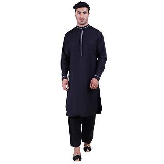 Designer Pathani Suit with mandarin collar- Black